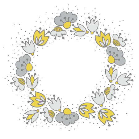 Messy different colorful yellow gray flowers in round wreath messy different colorful yellow gray flowers in round wreath on white background with little dots retro mightylinksfo
