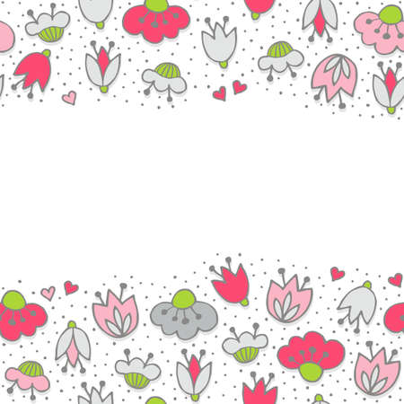 Messy different colorful pink gray flowers and hearts on white background with little dots retro romantic botanical seamless double horizontal border Illustration