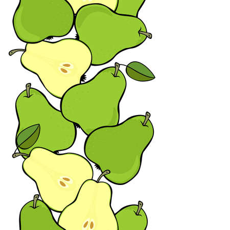 Delicious ripe green pears isolated on white background colorful fruit seamless vertical border Vector