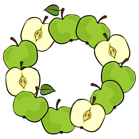 Delicious ripe green apples isolated on white background colorful fruit decorative wreath Vector
