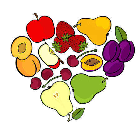 Delicious ripe fruit mix isolated in heart shape on white background botanical centerpiece illustration Vector
