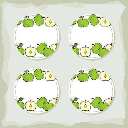 Colorful fruit delicious ripe green apples round sticker set with place for your text isolated on retro background Vector