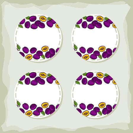 Colorful fruit delicious ripe plums round sticker set with place for your text isolated on retro background Vector