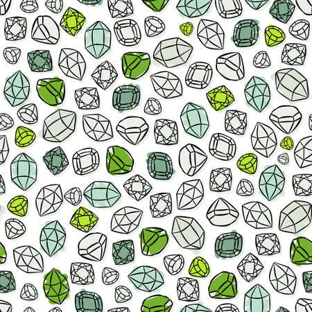 Colorful green blue white beautiful shining crystals diamonds precious stones seamless pattern on white background Vector
