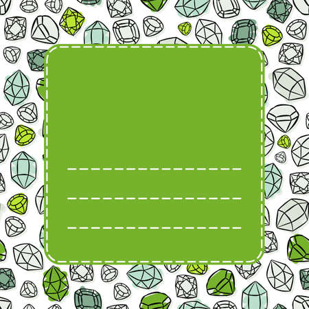 Colorful green blue white beautiful shining crystals diamonds precious stones seamless pattern on white background with green frame  Vector