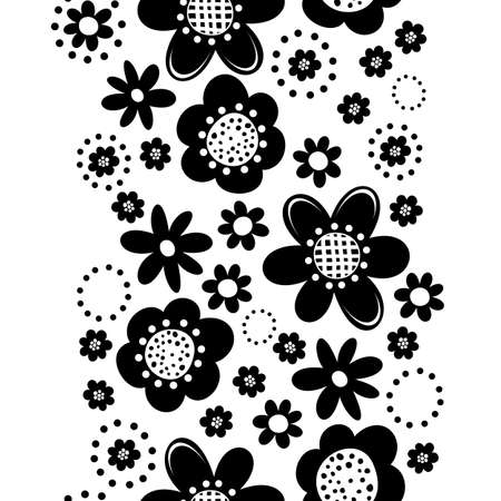 Monochrome black little flowers romantic botanical seamless vertical border on white background Vector