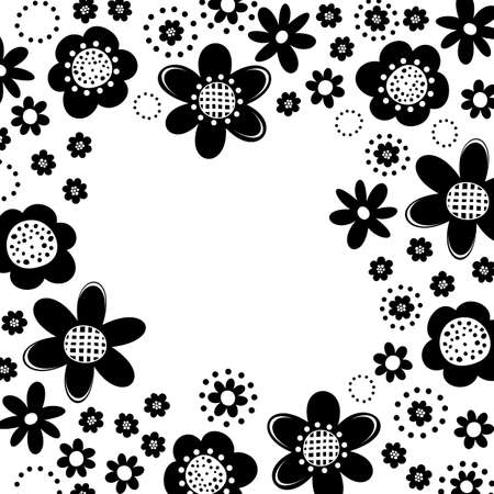 Monochrome black little flowers romantic botanical pattern on white background in shape of square frame with place for your text Vector