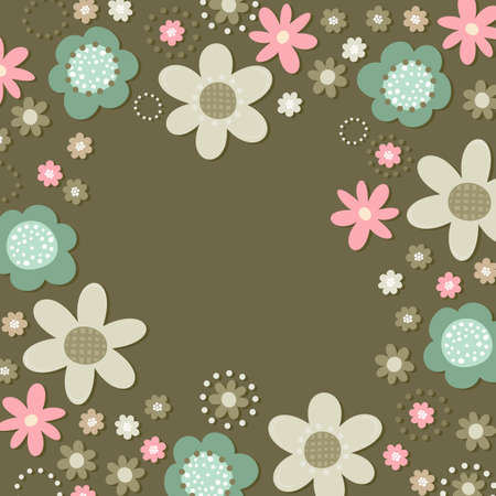 Colorful pink turquoise beige brown little flowers romantic botanical pattern on dark background in shape of square frame with place for your text Vector