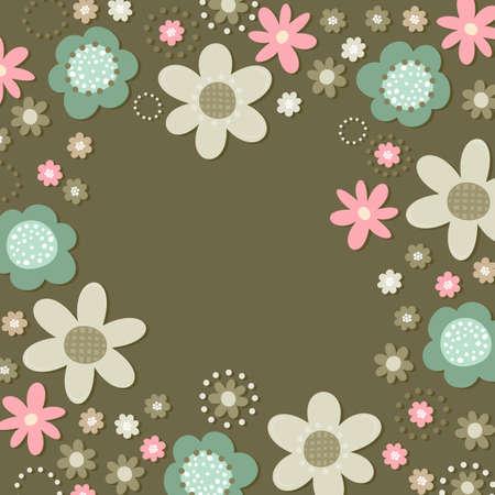 fond sombre: Colorful turquoise rose beige petites fleurs brun romantique motif botanique sur fond sombre en forme de carr� avec place pour votre texte