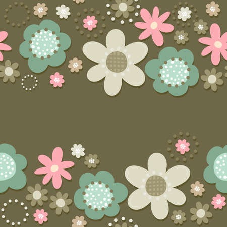 Colorful pink turquoise beige brown little flowers romantic botanical seamless double horizontal border on dark background with place for your text