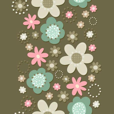 fond sombre: Colorful turquoise rose beige petites fleurs brun romantique botanique transparente bordure verticale sur fond sombre