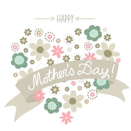 Colorful pink turquoise beige brown little flowers romantic botanical heart shape on white background with banner Happy Mother s Day card