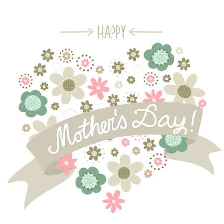 mummie: Kleurrijke roze turquoise beige bruin bloemetjes romantische botanische hart vorm op witte achtergrond met banner Happy Mother's Day card