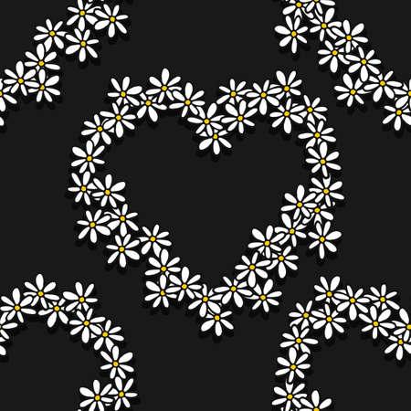 fond sombre: Colorful blancs marguerites jaunes noirs romantique en forme de coeur de fronti�re botanique sur fond noir floral seamless d�coratif Illustration