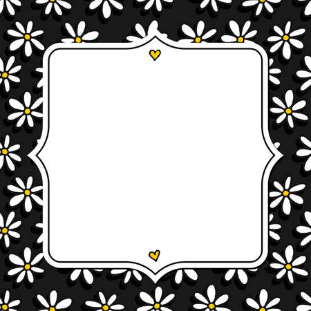 fond sombre: Blanc noir jaune petites fleurs de marguerite dessin� � la main d�sordre romantique seamless pattern botanique sur fond sombre avec vintage blanc en forme de cadre blanc avec la place pour votre texte