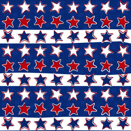 White red blue stars in three color regular horizontal rows on dark blue background seasonal holiday patriotic american seamless pattern Vector