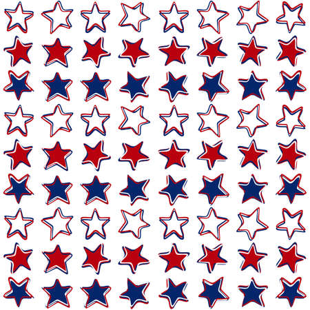 White red blue stars in three color regular horizontal rows on white background seasonal holiday patriotic american seamless pattern Vector