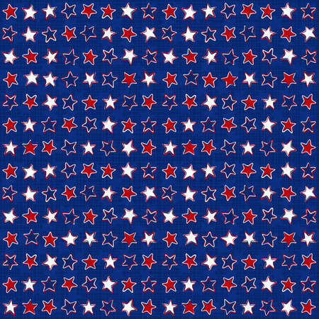 White red blue stars in messy horizontal rows on dark blue background seasonal holiday patriotic american seamless pattern