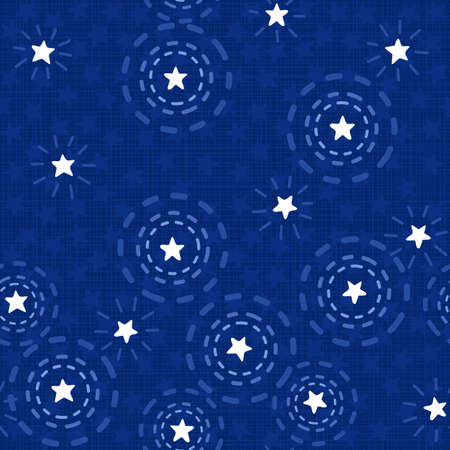 Summer night with messy little white sparkling stars on dark blue background seasonal seamless pattern