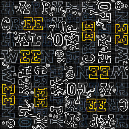 black and yellow: Happy creepy halloween white black yellow border letters autumn holiday colorful seamless pattern on dark background