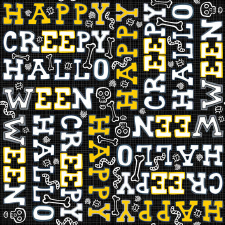 black and yellow: Happy creepy halloween white black yellow letters autumn holiday colorful seamless pattern on dark background