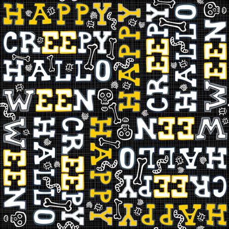 fond sombre: Joyeux Halloween effrayant blanc noir lettres jaunes vacances d'automne color� seamless sur fond sombre