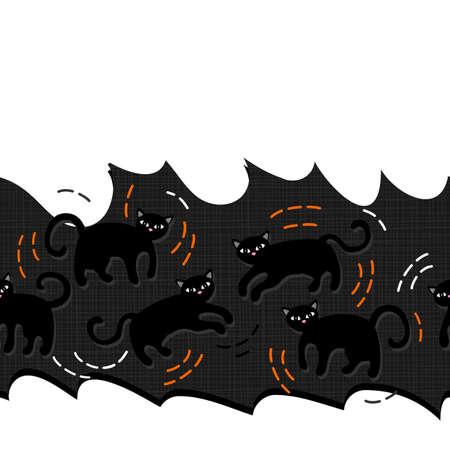 domestic animal: Black cats domestic animal seamless horizontal border on torn paper dark background Illustration
