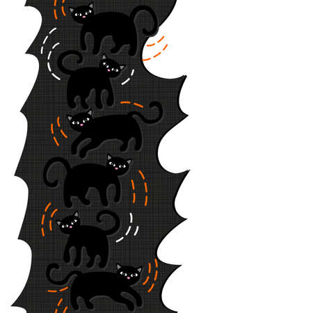 domestic animal: Black cats domestic animal seamless vertical border on torn paper dark background