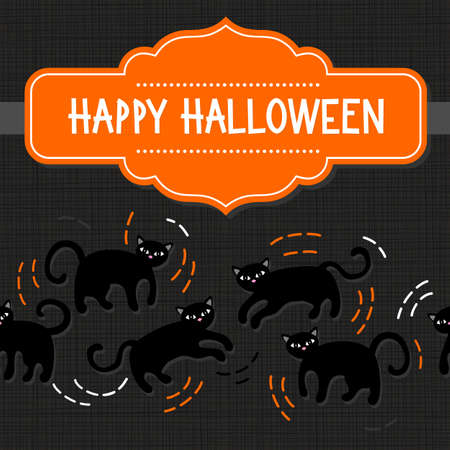 domestic animal: Black cats domestic animal seamless pattern on dark background seasonal card invitation poster with halloween wishes in English on orange retro style shaped frame Illustration