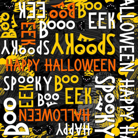 black and yellow: Happy halloween white black yellow orange letters and black cats autumn holiday colorful seamless pattern on dark background