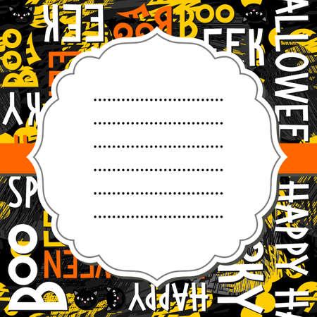 fond sombre: Happy Halloween blanc noir jaune orange lettres et les chats noirs vacances d'automne color� seamless pattern sur fond noir avec le blanc r�tro cadre blanc sur ruban d'orange invitation de carte de saison