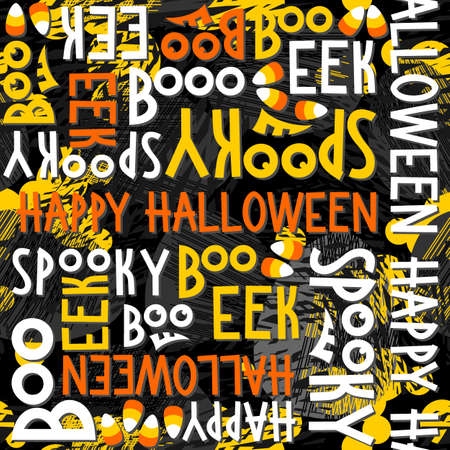 black and yellow: Happy halloween white black yellow orange letters and sweets autumn holiday colorful seamless pattern on dark background Illustration