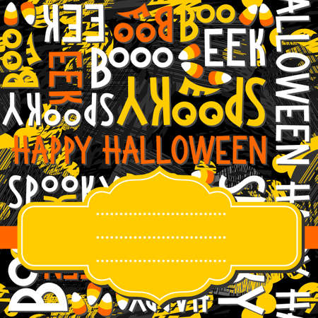 black and yellow: Happy halloween white black yellow orange letters and sweets autumn holiday colorful seamless pattern on dark background with blank yellow retro frame on orange ribbon seasonal card invitation Illustration