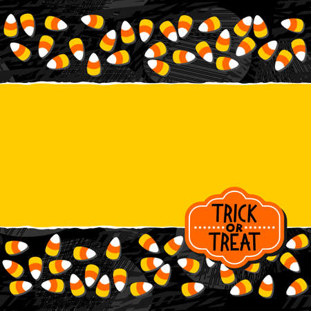Halloween candy white yellow orange sweets double horizontal border autumn holiday colorful pattern on dark background torn card with blank place for your text and retro shaped Halloween badge Vector