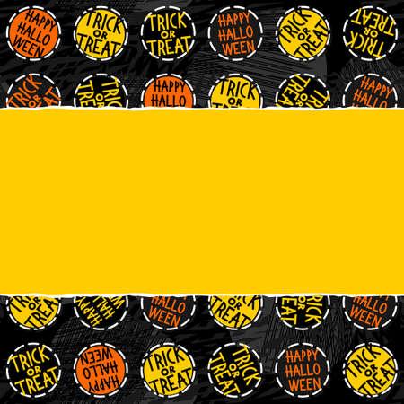 fond sombre: Halloween Trick heureux ou traiter blanc noir jaune badges ronds orange, vacances d'automne pattern sur fond fonc� sur papier jaune horizontale d�chir�e saisonni�re fronti�re perm�able horizontale Illustration