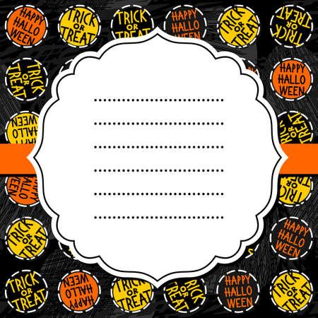 black and yellow: Happy halloween trick or treat white black yellow orange round badges autumn holiday colorful seamless pattern on dark background with blank white retro frame on orange ribbon seasonal card invitation