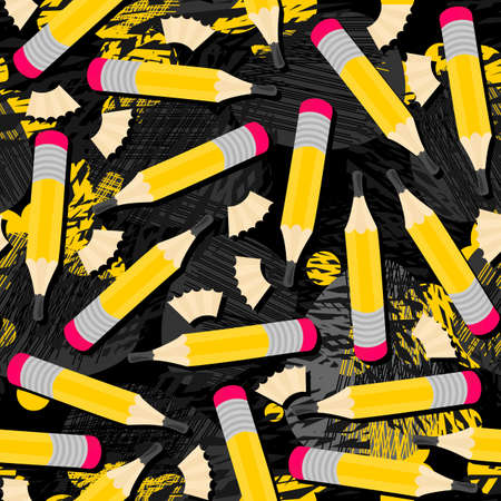 shavings: Yellow pencils and wooden shavings mess seamless pattern with isolated elements on dark messy background