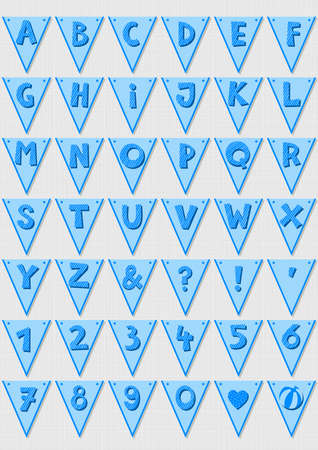 Blue stripd letters and numbers on triangle banner flags light patterned baby boy alphabet set Vector