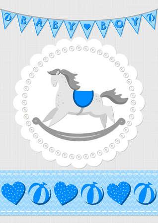 schommelpaard: Toy dier hobbelpaard op wit kleedje met vlag banner en naadloze lint blauw baby boy kamer decoratieve illustratie