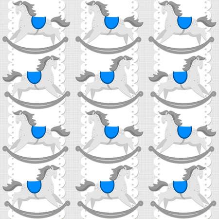 schommelpaard: Toy dier hobbelpaard op wit kleedje verticale lint blauwe baby boy kamer decoratieve naadloze patroon op lichte achtergrond