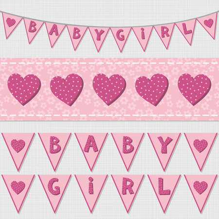 Sweet pink baby girl shower birthday flags and ribbon bunting set on light background Vector