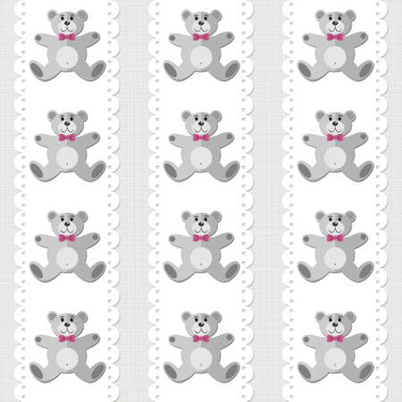 Toy animal elegant teddy bear on white doily vertical ribbon pink baby girl room decorative seamless pattern on light background Vector
