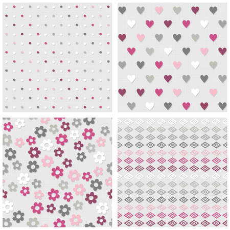 Set of white gray pink vector seamless patterns with dots hearts flowers and diamonds on light background Vector