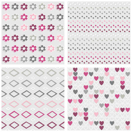 Set of white gray pink vector seamless patterns with flowers dots diamonds and hearts on light background Vector
