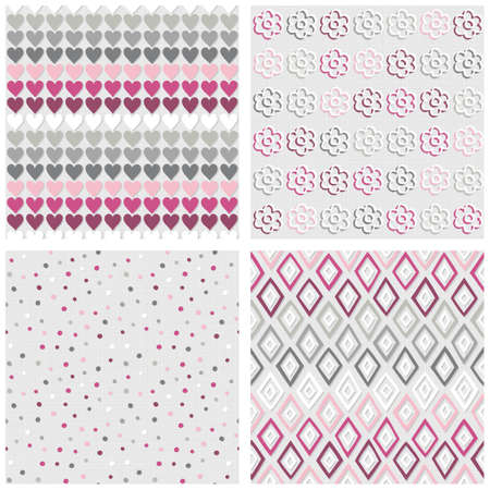 Set of white gray pink vector seamless patterns with hearts flowers dots and diamonds on light background Vector