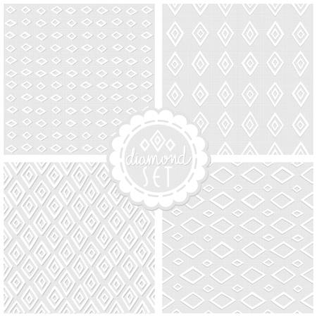 Set of white gray monochrome vector backgrounds with diamonds and round sticker Vector