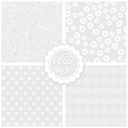 Set of white and gray monochrome floral cards with flowers and leaves backgrounds with round sticker Vector