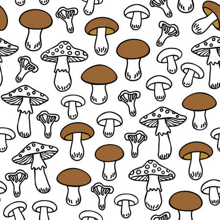 undergrowth: Different mushroom types monochrome seamless pattern with brown elements on white background Illustration