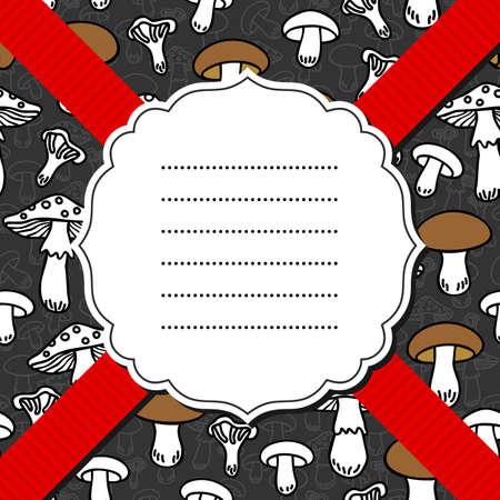 fond sombre: Types de champignons diff�rents monochrome pattern avec des �l�ments brunes sur fond sombre avec cadre et ruban rouge Illustration