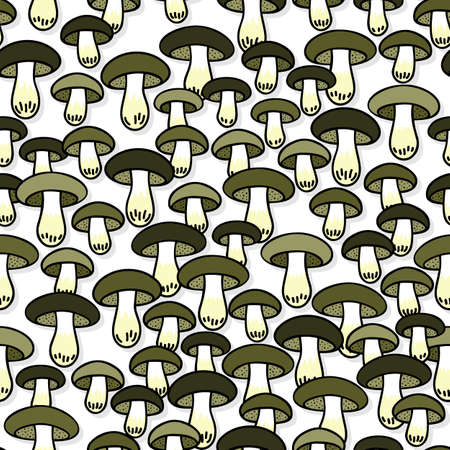 edible: Green gray edible mushrooms autumn seasonal seamless pattern on white background